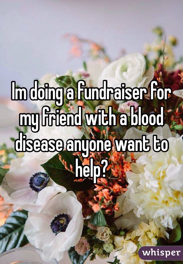 Im doing a fundraiser for my friend with a blood disease anyone want to help?