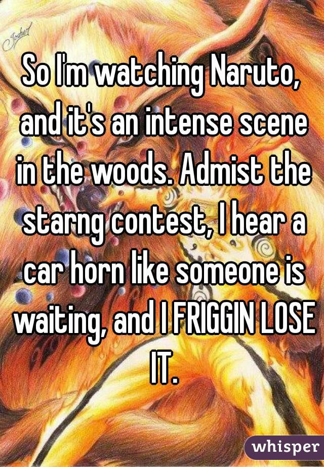 So I'm watching Naruto, and it's an intense scene in the woods. Admist the starng contest, I hear a car horn like someone is waiting, and I FRIGGIN LOSE IT.