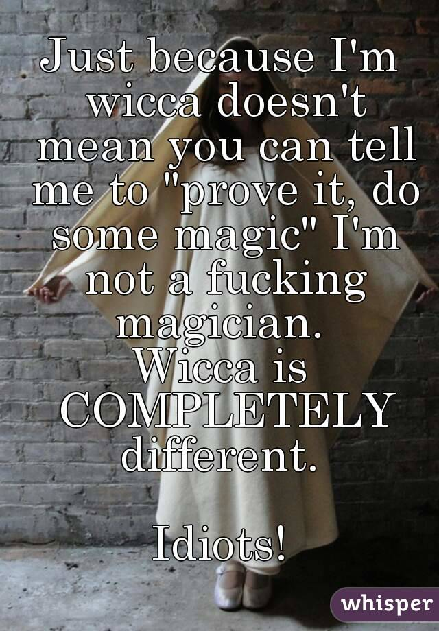 """Just because I'm wicca doesn't mean you can tell me to """"prove it, do some magic"""" I'm not a fucking magician.  Wicca is COMPLETELY different.   Idiots!"""