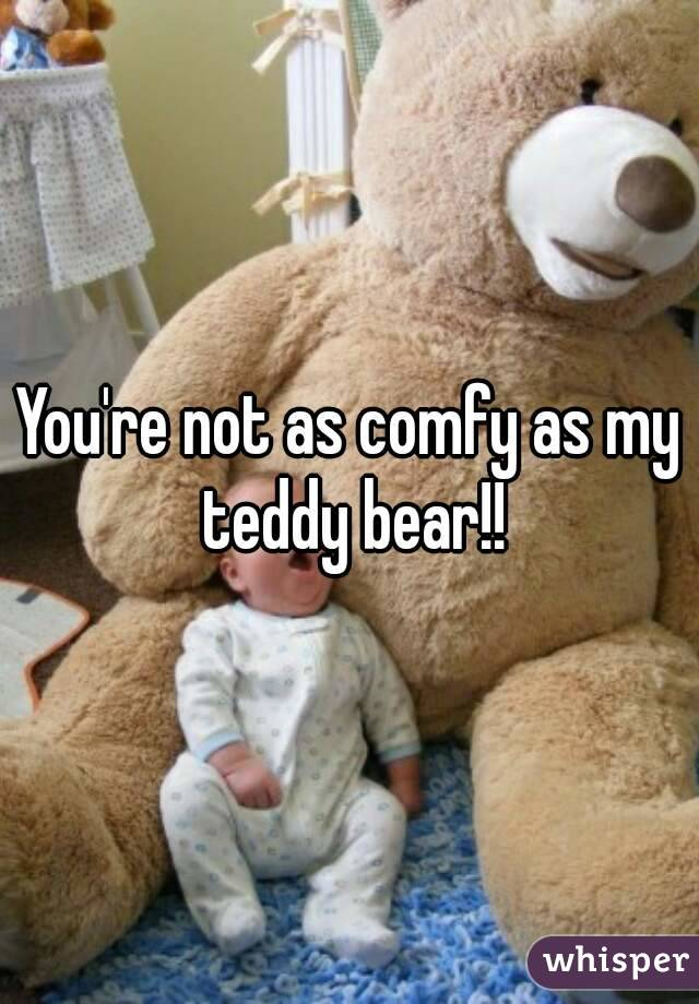 You're not as comfy as my teddy bear!!