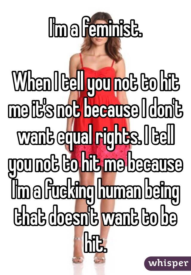 I'm a feminist.  When I tell you not to hit me it's not because I don't want equal rights. I tell you not to hit me because I'm a fucking human being that doesn't want to be hit.