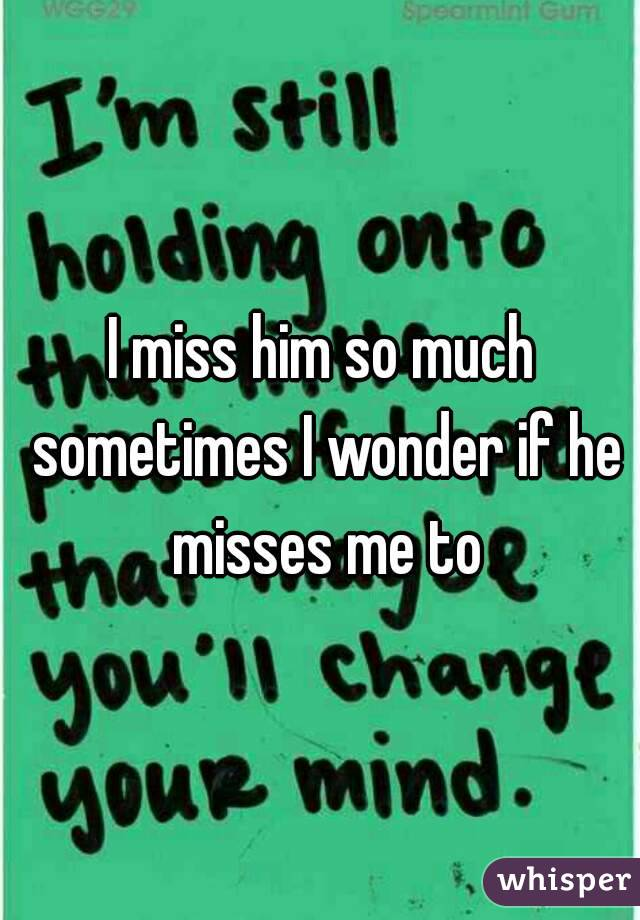 I miss him so much sometimes I wonder if he misses me to