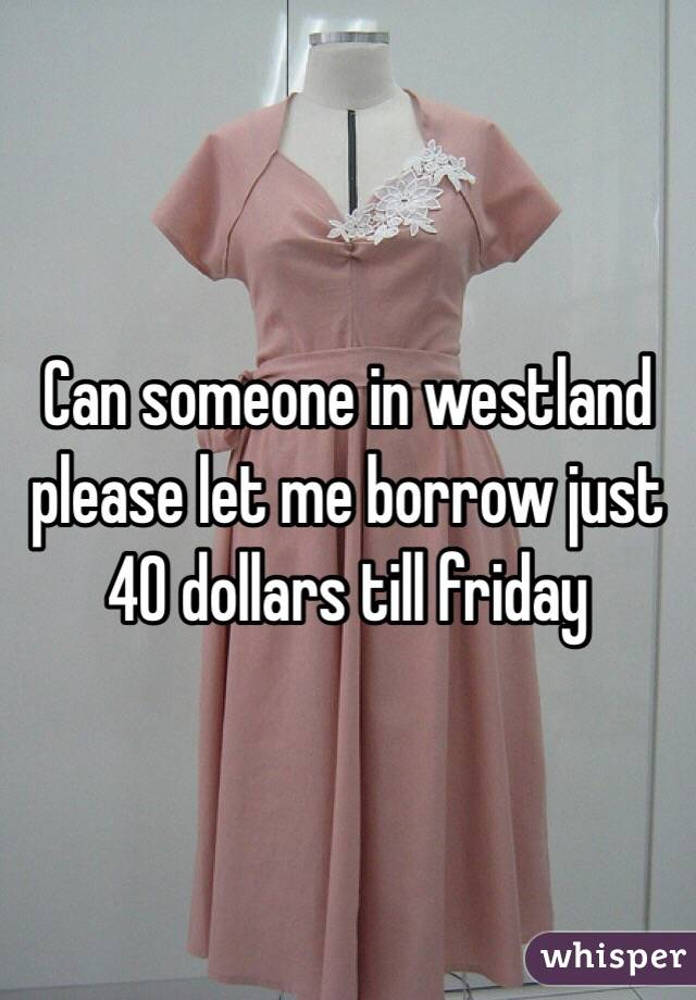 Can someone in westland please let me borrow just 40 dollars till friday
