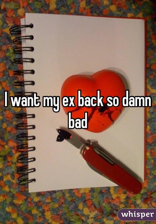 I want my ex back so damn bad