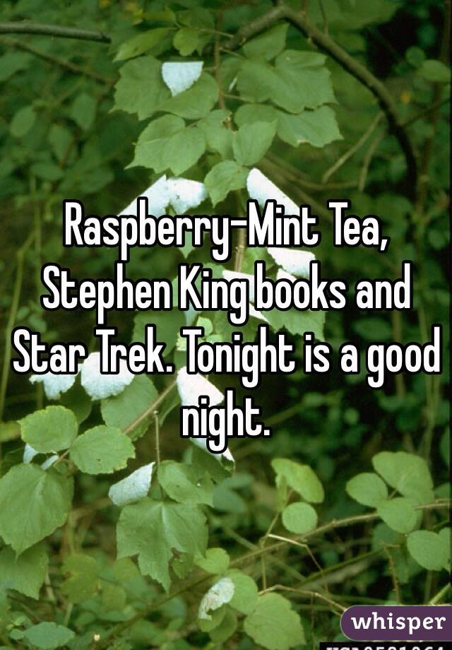 Raspberry-Mint Tea, Stephen King books and Star Trek. Tonight is a good night.