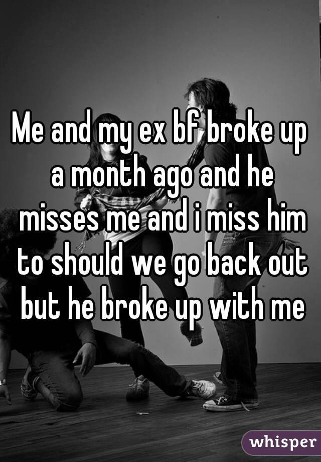 Me and my ex bf broke up a month ago and he misses me and i miss him to should we go back out but he broke up with me