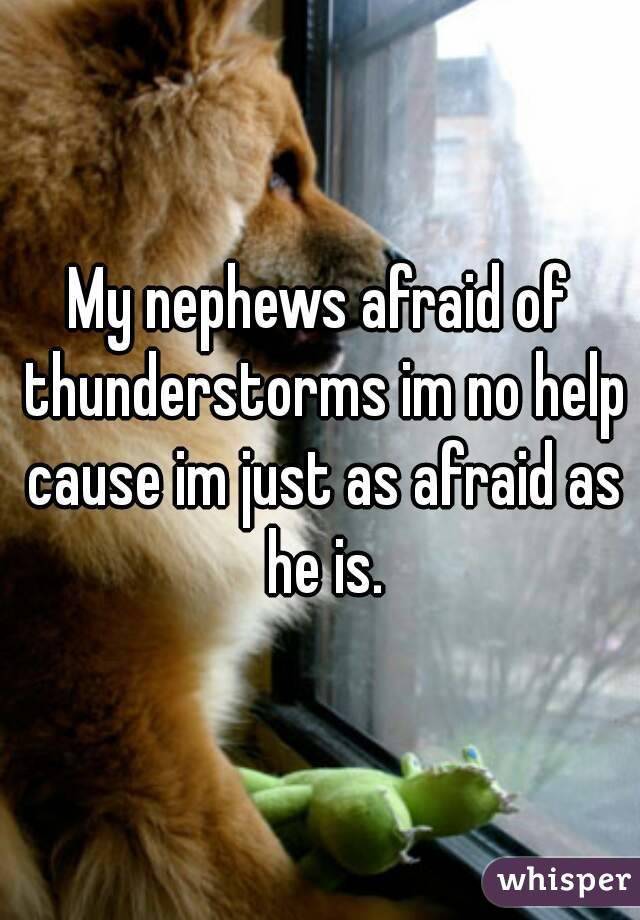 My nephews afraid of thunderstorms im no help cause im just as afraid as he is.