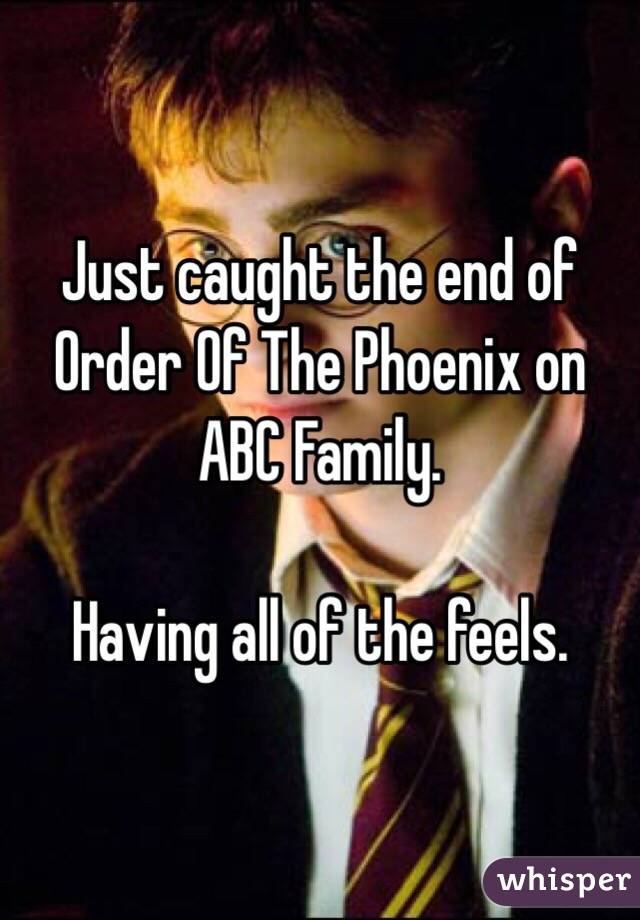 Just caught the end of Order Of The Phoenix on ABC Family.   Having all of the feels.