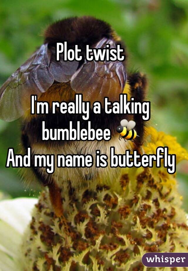 Plot twist  I'm really a talking bumblebee 🐝  And my name is butterfly