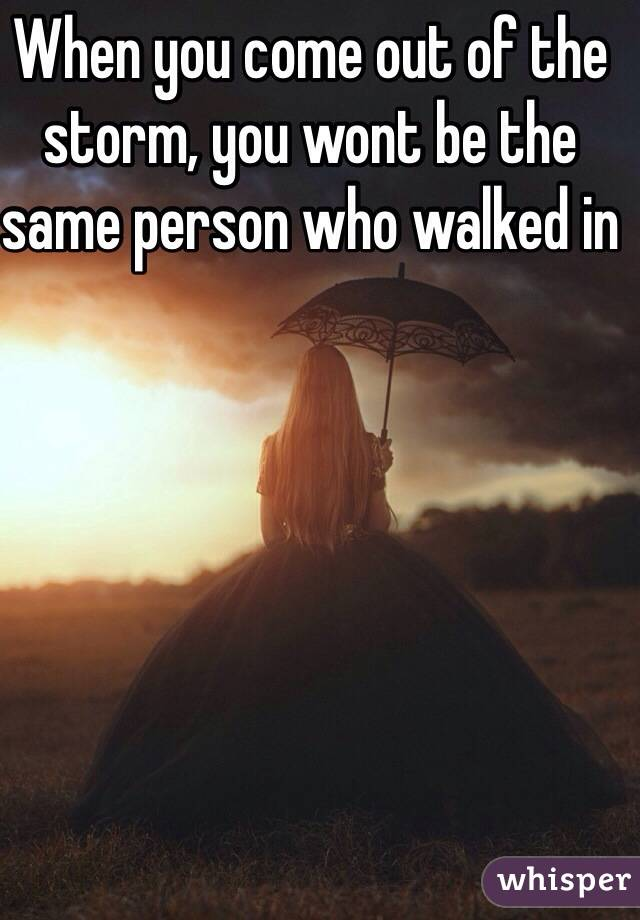 When you come out of the storm, you wont be the same person who walked in