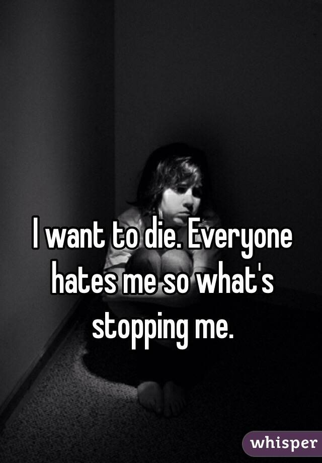 I want to die. Everyone hates me so what's stopping me.