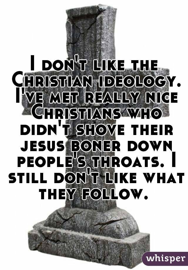 I don't like the Christian ideology. I've met really nice Christians who didn't shove their jesus boner down people's throats. I still don't like what they follow.