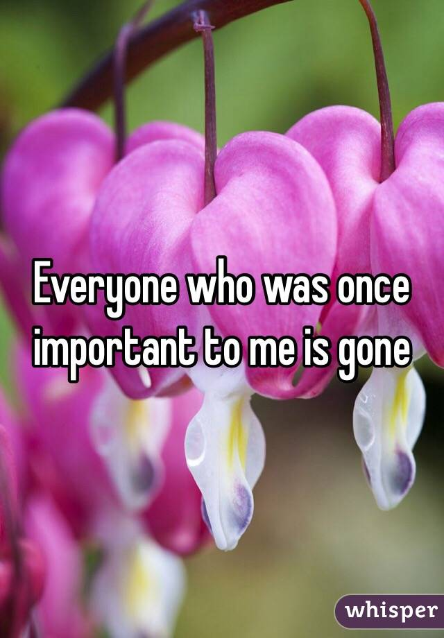 Everyone who was once important to me is gone