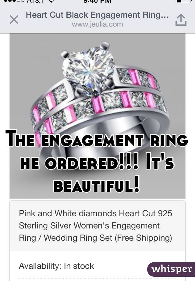The engagement ring he ordered!!! It's beautiful!