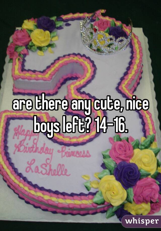 are there any cute, nice boys left? 14-16.