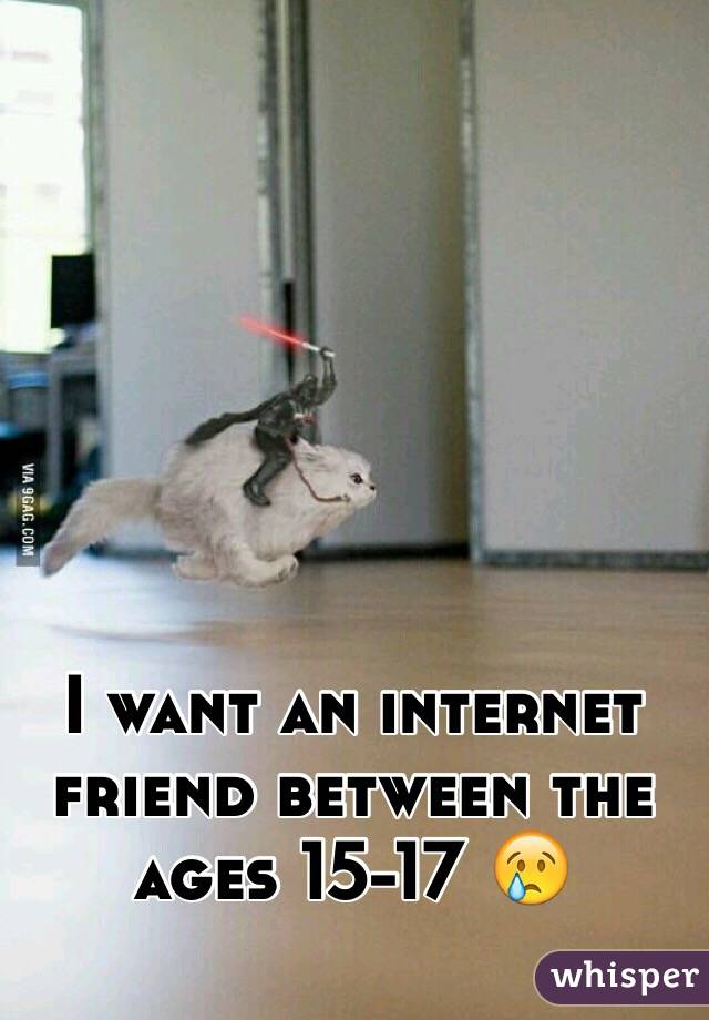 I want an internet friend between the ages 15-17 😢
