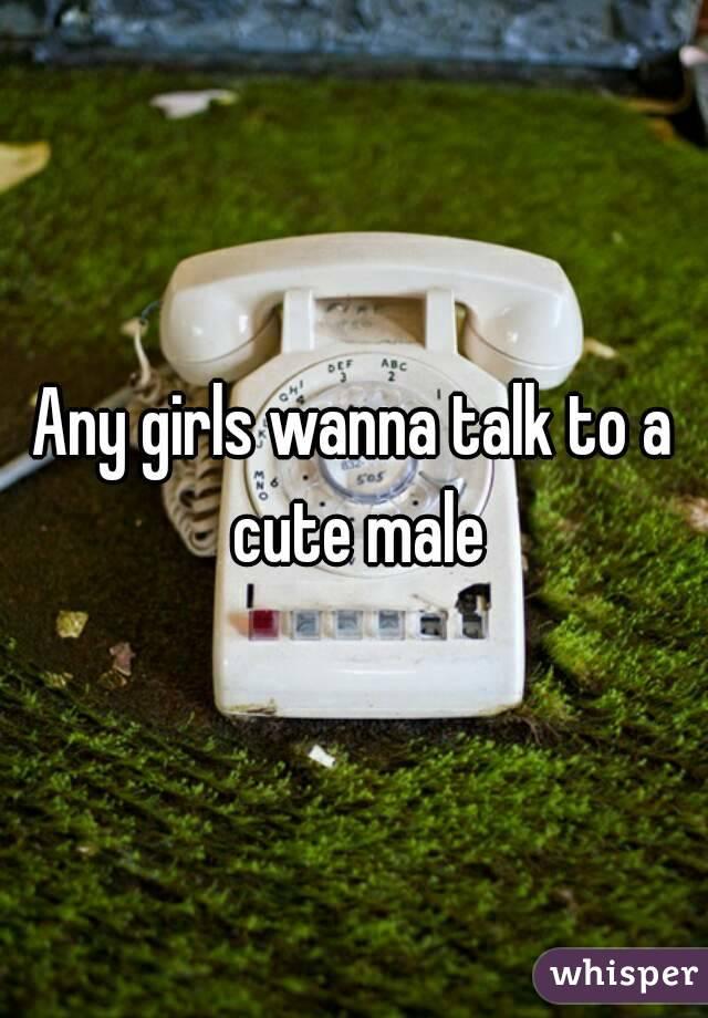 Any girls wanna talk to a cute male
