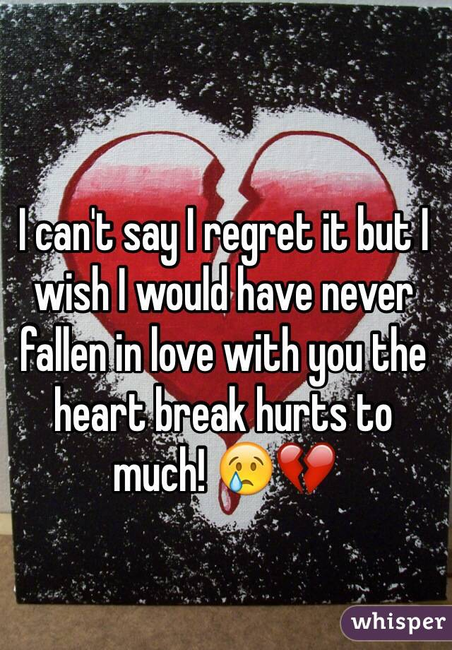 I can't say I regret it but I wish I would have never fallen in love with you the heart break hurts to much! 😢💔