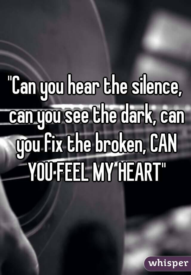 """""""Can you hear the silence, can you see the dark, can you fix the broken, CAN YOU FEEL MY HEART"""""""