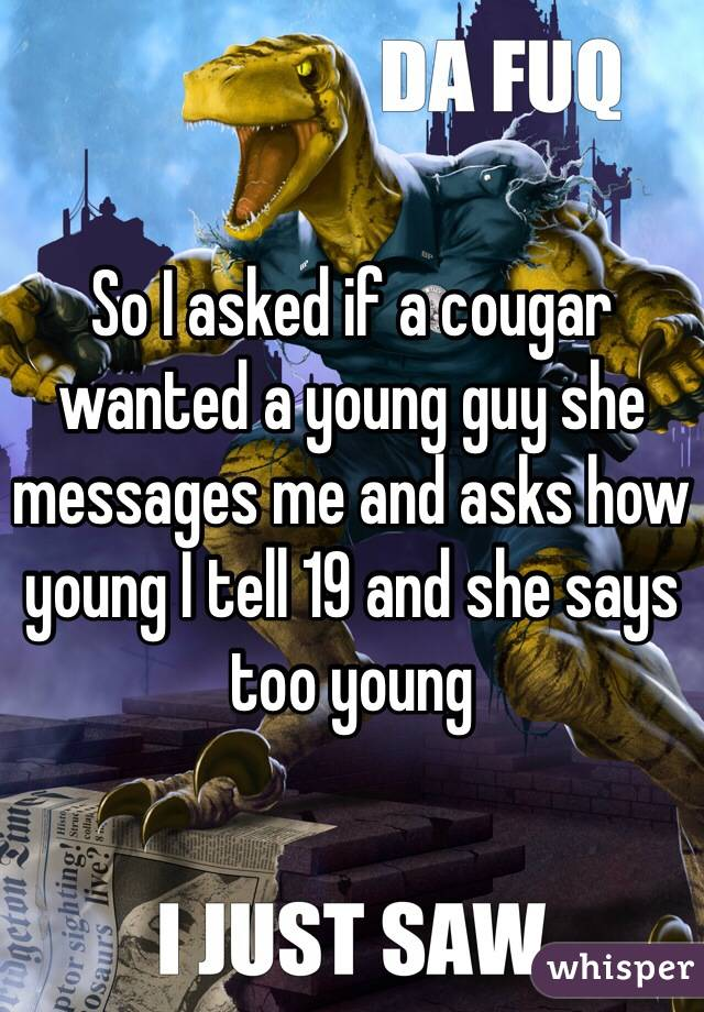 So I asked if a cougar wanted a young guy she messages me and asks how young I tell 19 and she says too young