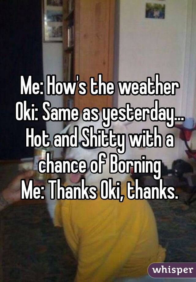 Me: How's the weather Oki: Same as yesterday... Hot and Shitty with a chance of Borning Me: Thanks Oki, thanks.