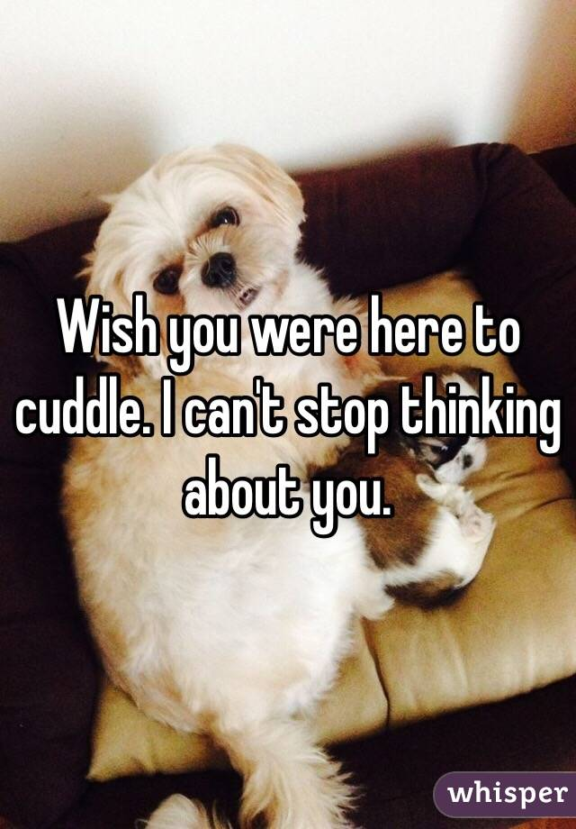 Wish you were here to cuddle. I can't stop thinking about you.