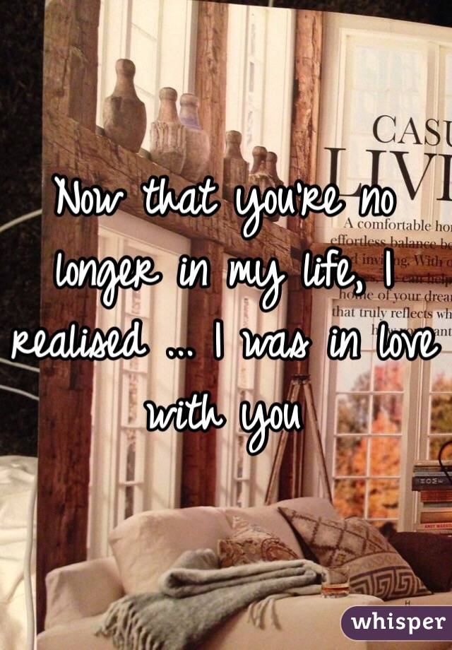 Now that you're no longer in my life, I realised ... I was in love with you