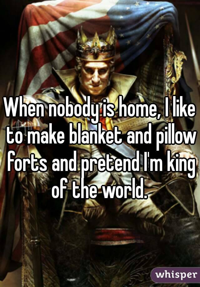 When nobody is home, I like to make blanket and pillow forts and pretend I'm king of the world.