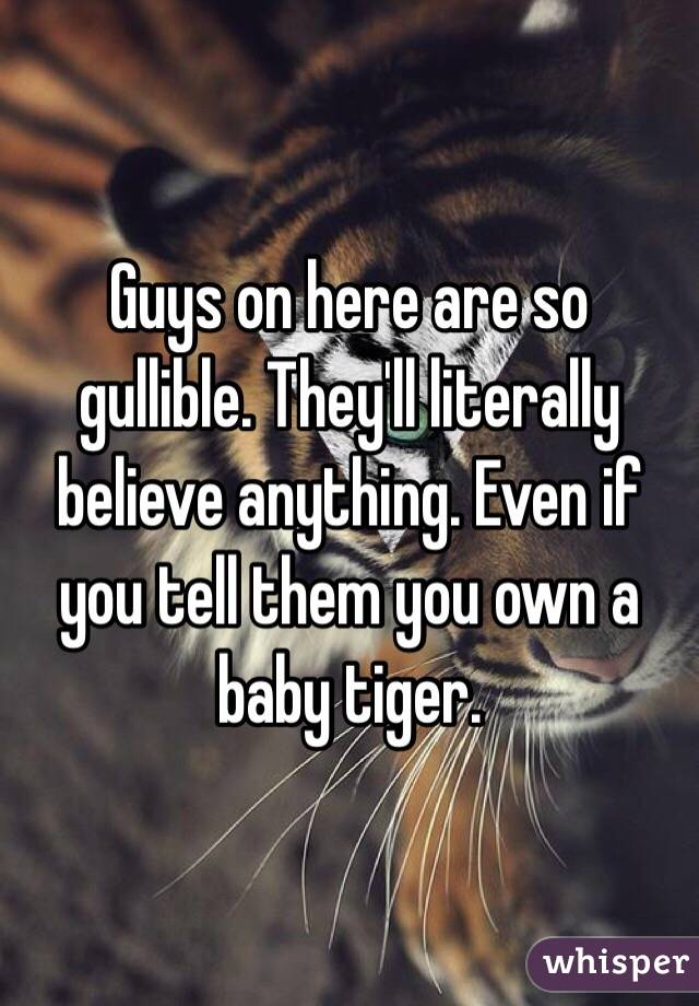 Guys on here are so gullible. They'll literally believe anything. Even if you tell them you own a baby tiger.