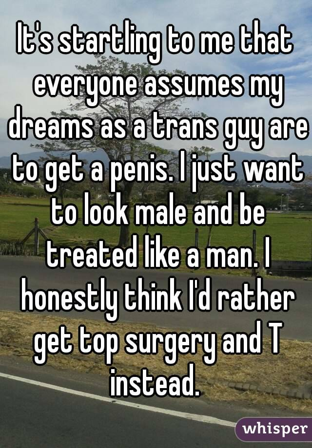 It's startling to me that everyone assumes my dreams as a trans guy are to get a penis. I just want to look male and be treated like a man. I honestly think I'd rather get top surgery and T instead.