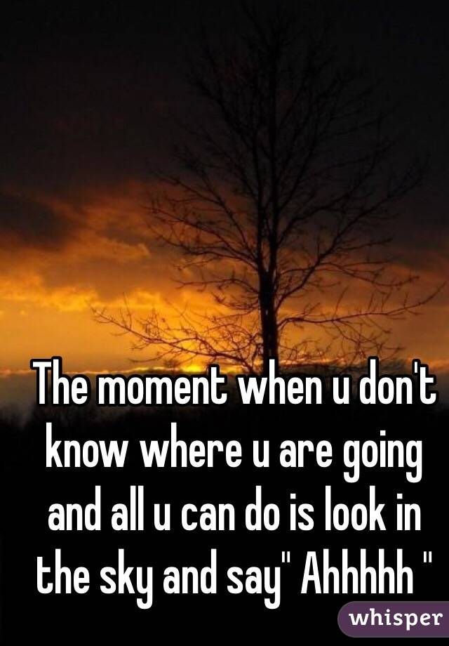 "The moment when u don't know where u are going and all u can do is look in the sky and say"" Ahhhhh """