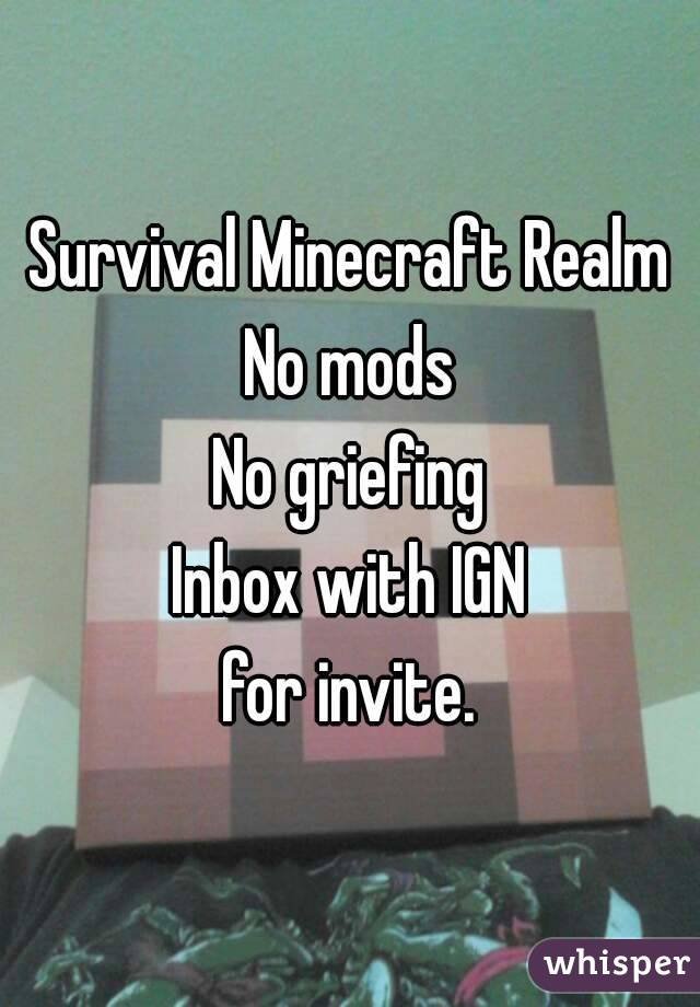 Survival Minecraft Realm No mods No griefing Inbox with IGN for invite.