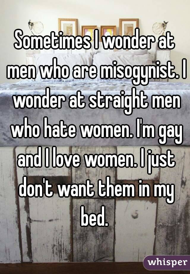 Sometimes I wonder at men who are misogynist. I wonder at straight men who hate women. I'm gay and I love women. I just don't want them in my bed.