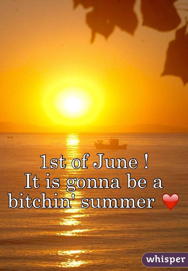 1st of June ! It is gonna be a bitchin' summer ❤️