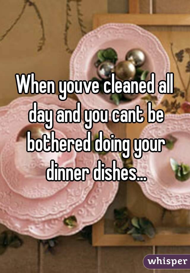 When youve cleaned all day and you cant be bothered doing your dinner dishes...