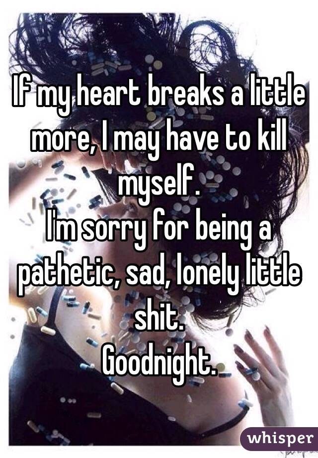 If my heart breaks a little more, I may have to kill myself.  I'm sorry for being a pathetic, sad, lonely little shit.  Goodnight.