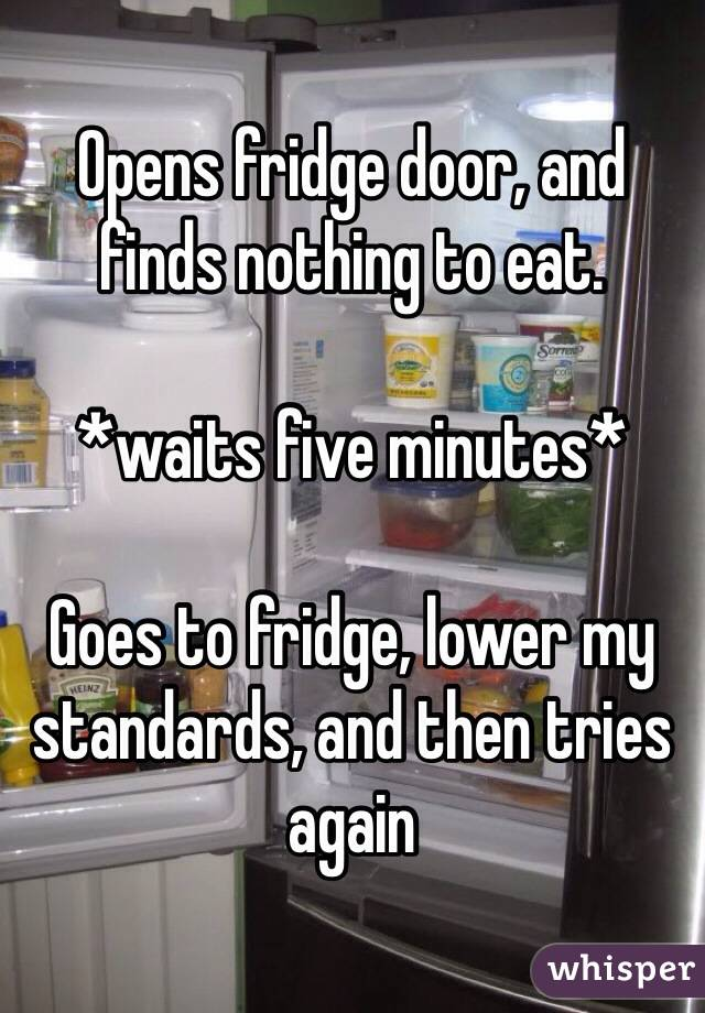Opens fridge door, and finds nothing to eat.  *waits five minutes*  Goes to fridge, lower my standards, and then tries again