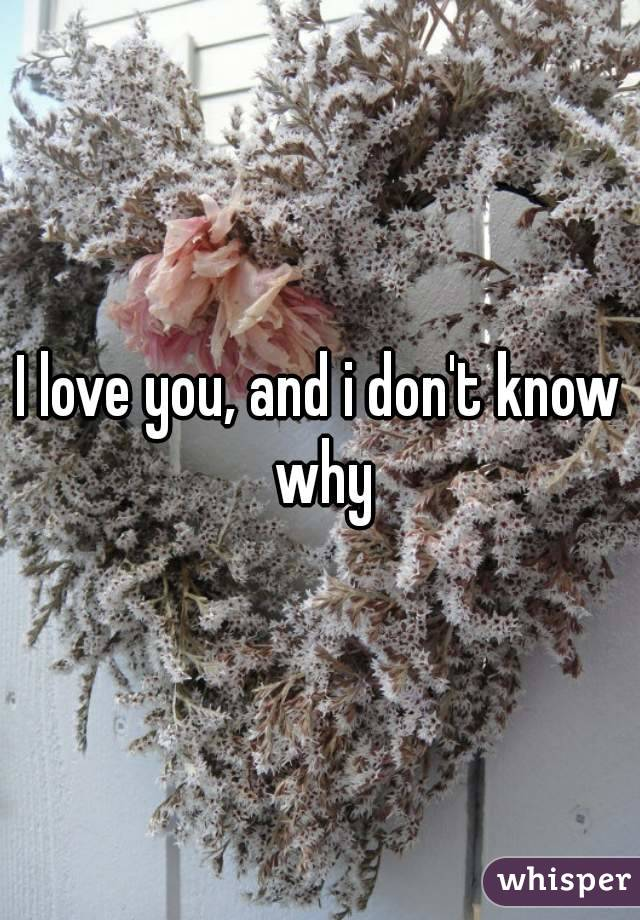 I love you, and i don't know why