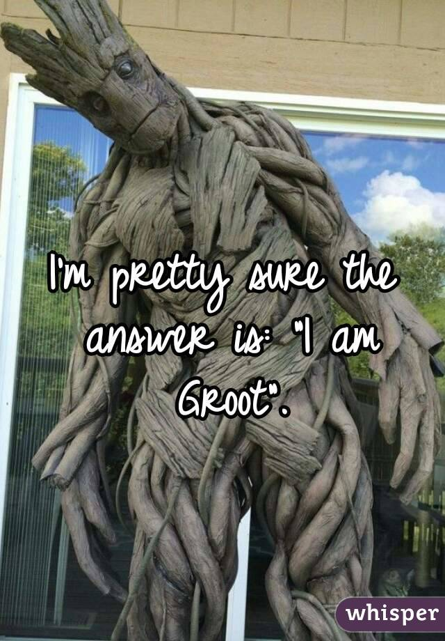 """I'm pretty sure the answer is: """"I am Groot""""."""