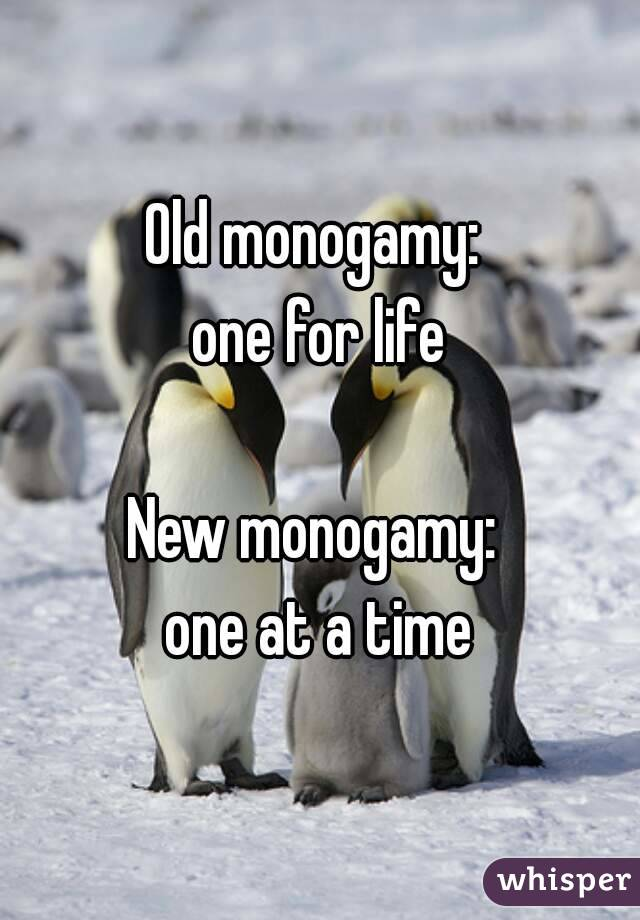 Old monogamy:  one for life  New monogamy:  one at a time