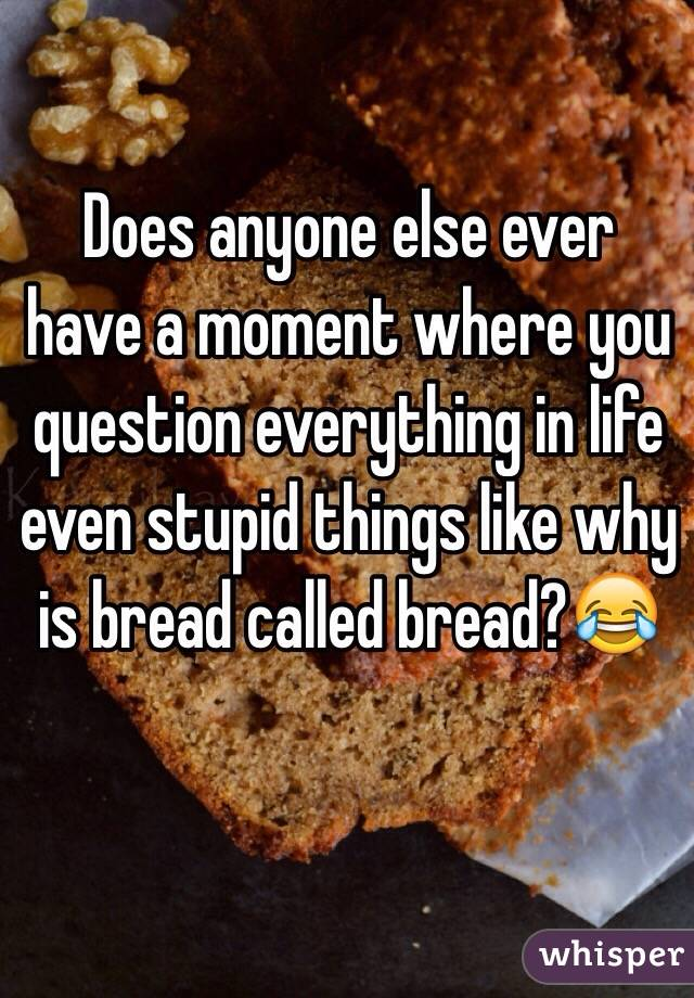Does anyone else ever have a moment where you question everything in life even stupid things like why is bread called bread?😂