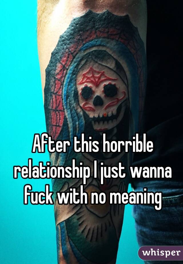 After this horrible relationship I just wanna fuck with no meaning