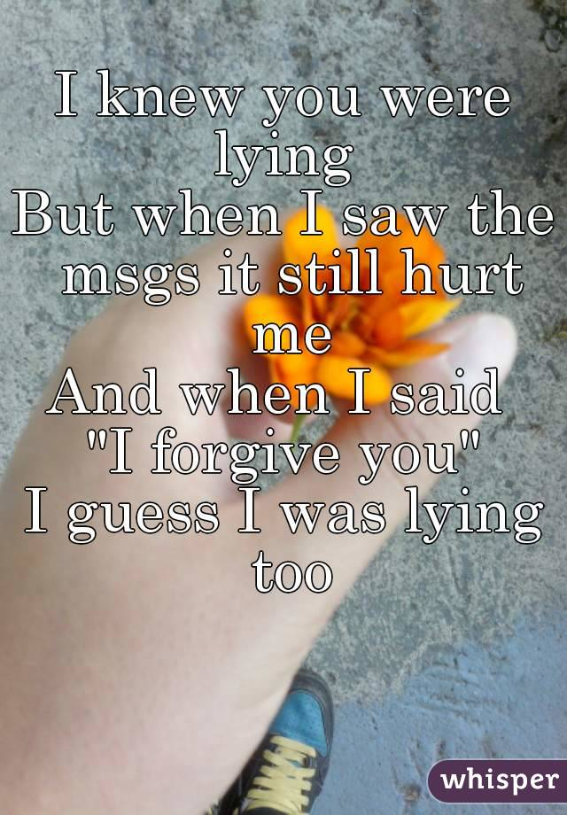 """I knew you were lying  But when I saw the msgs it still hurt me And when I said  """"I forgive you"""" I guess I was lying too"""