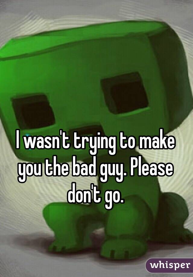I wasn't trying to make you the bad guy. Please don't go.