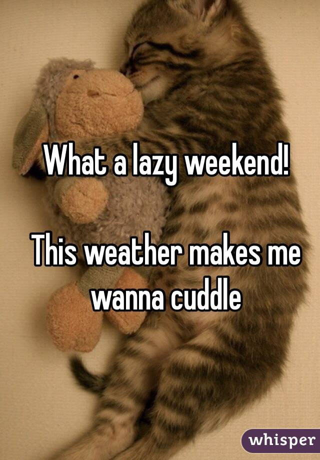 What a lazy weekend!   This weather makes me wanna cuddle