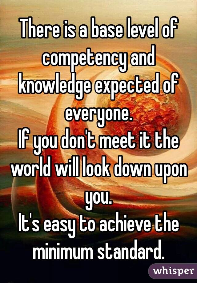 There is a base level of competency and knowledge expected of everyone. If you don't meet it the world will look down upon you. It's easy to achieve the minimum standard.