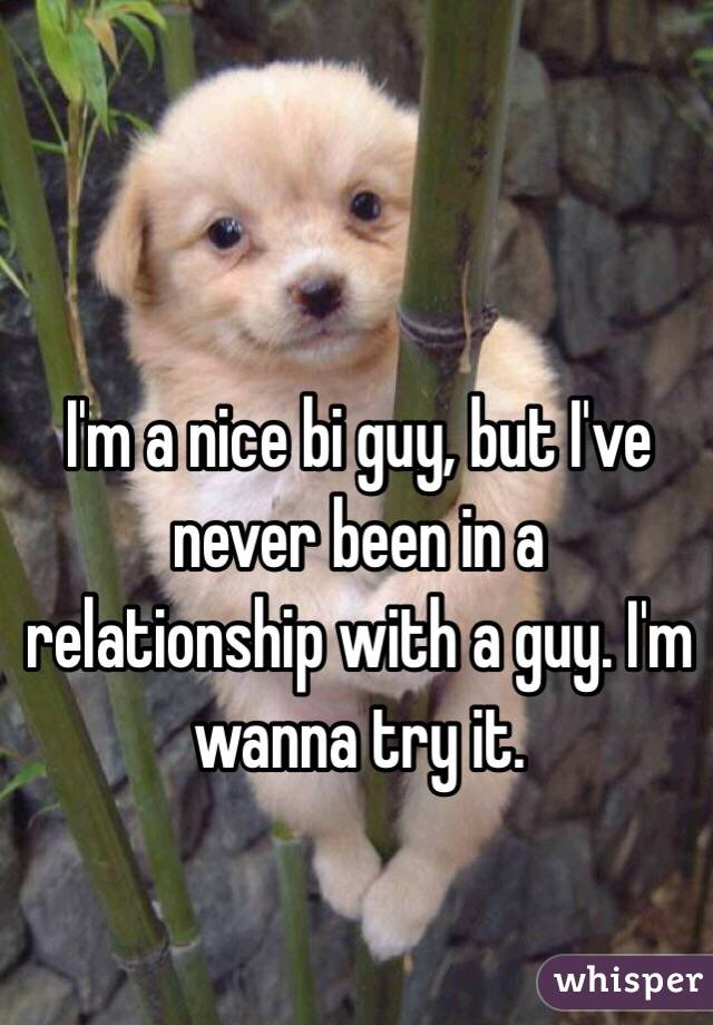 I'm a nice bi guy, but I've never been in a relationship with a guy. I'm wanna try it.