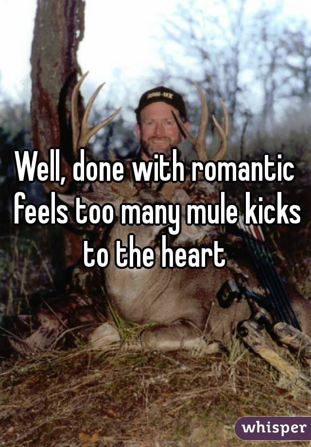 Well, done with romantic feels too many mule kicks to the heart