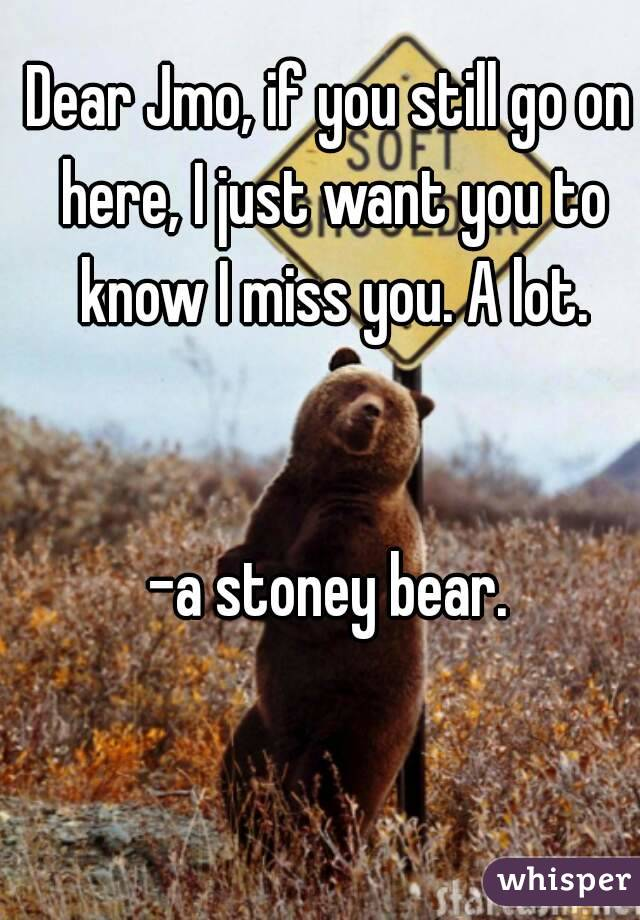 Dear Jmo, if you still go on here, I just want you to know I miss you. A lot.   -a stoney bear.