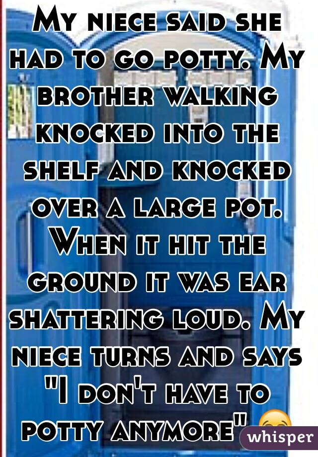 """My niece said she had to go potty. My brother walking knocked into the shelf and knocked over a large pot. When it hit the ground it was ear shattering loud. My niece turns and says """"I don't have to potty anymore"""" 😂"""